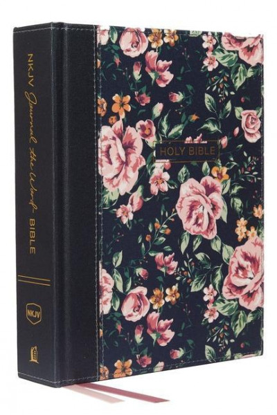 NKJV, Journal the Word Bible, Cloth Over Board, Gray Floral, Red Letter Edition, Comfort Print: Refl