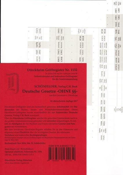 SCHÖNFELDER OHNE §§ Dürckheim-Griffregister Nr. 1132, 10. Aufl. 2017: Gesetzesnamen OHNE §§***DIE NE