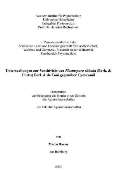 Untersuchungen zur Sensitivität von Plasmopara viticola (Berk. & Curtis) Berl. & de Toni gegenüber C