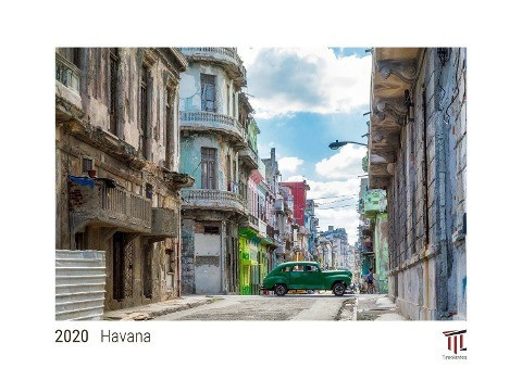 Havana 2020 - White Edition - Timocrates wall calendar with US holidays / picture calendar / photo c