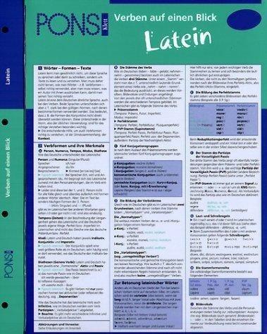 PONS Verben auf einen Blick Latein: kompakte Übersicht, Verbformen und Konjugationen nachschlagen (P