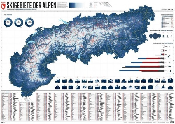 609 Skigebiete der Alpen 1 : 800.000