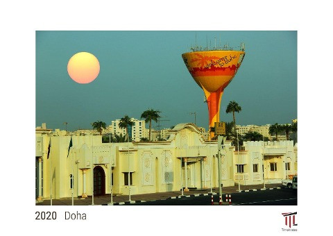 Doha 2020 - White Edition - Timocrates wall calendar with US holidays / picture calendar / photo cal