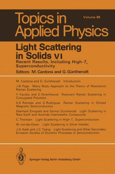 Light Scattering in Solids VI