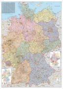 Orga-Karte Deutschland 1 : 750 000. Wandkarte Großformat ohne Metallstäbe