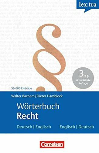 Lextra - Fachwörterbücher Englisch: Wörterbuch Recht