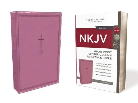 NKJV, Reference Bible, Center-Column Giant Print, Leathersoft, Pink, Red Letter, Comfort Print
