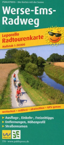 Radtourenkarte Werse-Ems-Radweg 1 : 50 000 in Leporello-Falzung