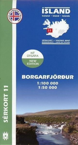 Island Serkort 11 Borgarfjordur 1 : 100 000