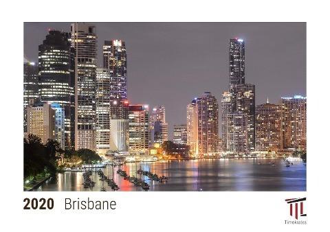 Brisbane 2020 - Timokrates desk calendar with US holidays / picture calendar / photo calendar - DIN
