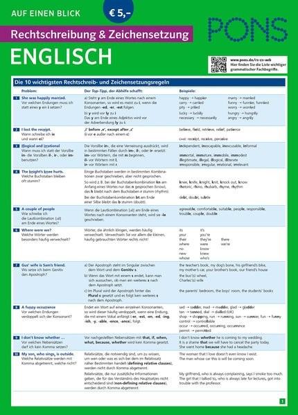 PONS Rechtschreibung & Zeichensetzung auf einen Blick Englisch